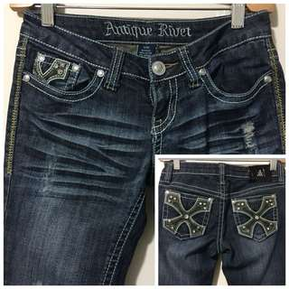 Antique Rivet 25 Distressed Dark Denim Straight Leg Jean