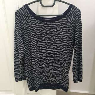 long sleeve navy knitted top