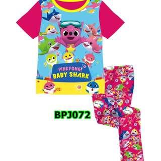 baby shark short sleeve sleep wear