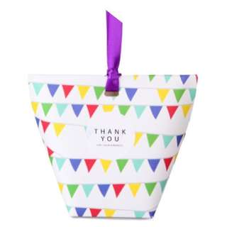 Korean Design Candies Gift Box Colorful Flags 6*6*10 in Pack of 10