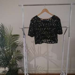 Black Friday Lace Crop Tee - Size S