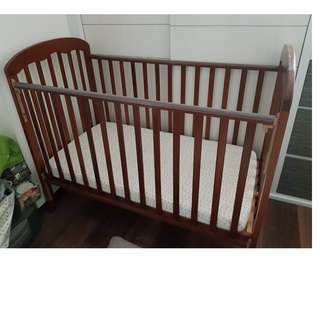 Price reduced!! New Zealand pine wood Baby cot (brown) comes with Latex mattress