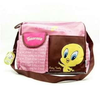 Looney Tunes Microfiber Pink Diaper Bag Tweety Bird
