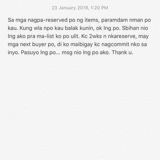 Please READ. Esp. sa mga nagpareserve po. 😊