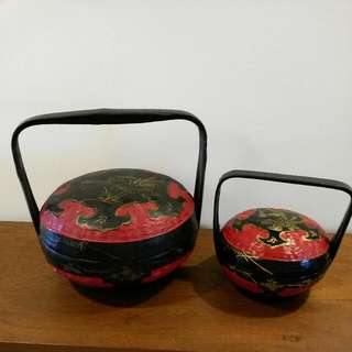 2 Vintage Baskets  With Bird Design (Big Basket Sold)