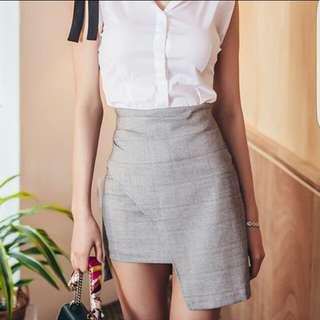 Asymmetric OL Skirt in Grey