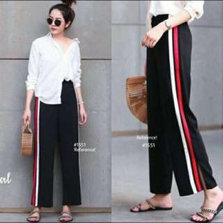 Zara stripe pants merah