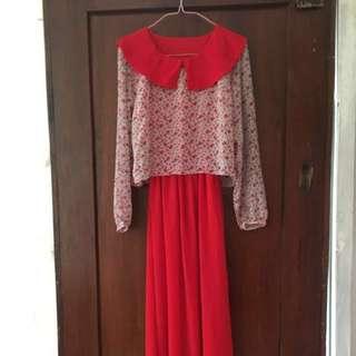 dress muslim warna merah