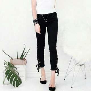 Mango Lace-Up Skinny Jeans