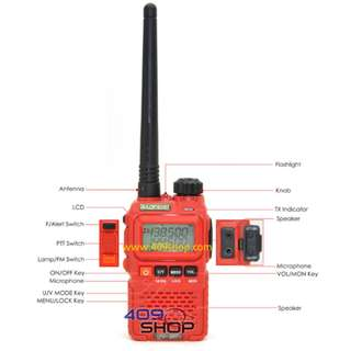 BAOFENG 對講機  UV-3R Plus Red Dual Band Radio+Acoustic Mic