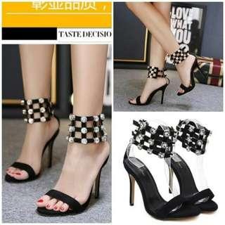 black Sepatu Heels Wanita Elegan 12CM
