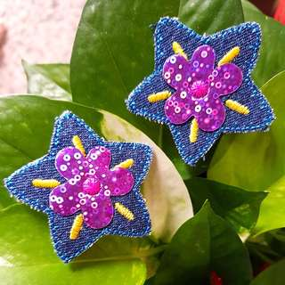 Iron On Patch/ Applique ↪ Flower on Star Denim 💱 $2.90 Set of 2 Pieces