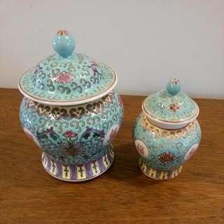 Vintage Turquoise Chinese Jars
