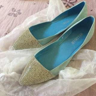 燙鑽鞋 真皮 Tiffany藍 夢幻鞋
