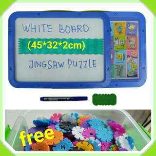 White board + Puzzle + Alphabet magnet (kids learning toy set) - COD
