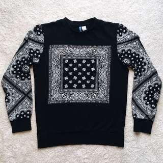 Paisley print black jumper