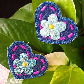 Iron On Patch/ Applique ↪ Flower on Heart Denim 💱 $2.90 Set of 2 Pieces