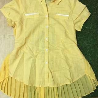 鮮黃百褶拼接襯衫