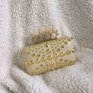 Studded Beige Clutch