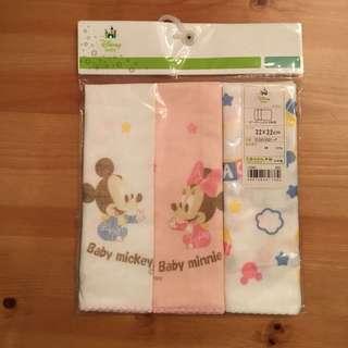 日本製 Disney Mickey Minnie 嬰兒 bb 手巾 毛巾 紗巾