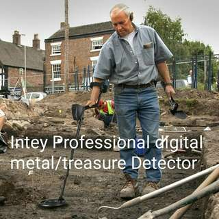 INTEY professional metal detector w LCD Display and Large 25 cm Waterproof Search Coil with multi Folding Shovel