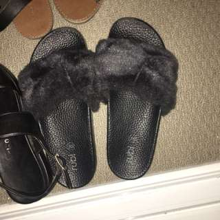 Fluffy slides rubi shoes