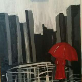 Woman is city painting