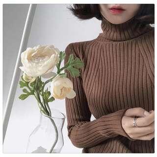 咖啡色秋冬韓版百搭高领修身顯瘦彈力針織衫毛衣打底上衣