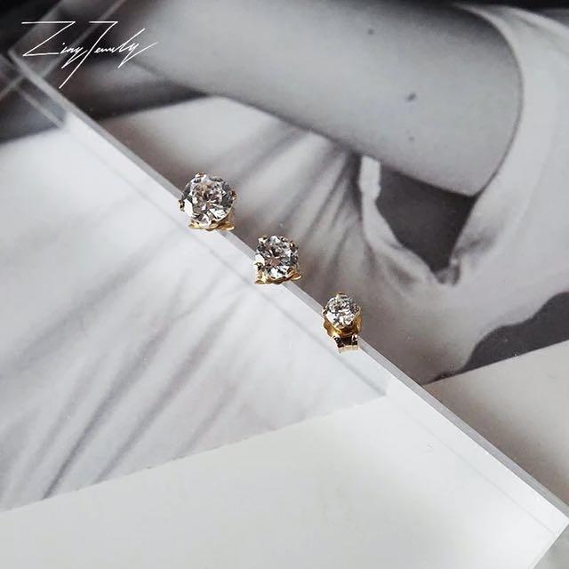 超級閃!美國14k包金不易退色過敏鑽石耳環