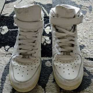 White Nike Air Force 1 High Tops