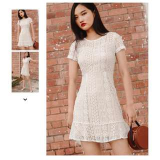 BALLY LACE DRESS IN WHITE