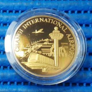 Singapore 25 Years of Independence SG25 Changi International Airport Gold Plated Medallion