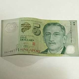 GREAT CNY SALE {Collectibles Item - Banknotes} 3AJ766111 Nice Number $5 Singapore Portrait (Polymer) Series Banknotes Signature & Seal by  Mr Goh Chok Tong 吴作栋
