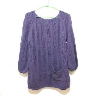 🚚 二手 紫色澎澎袖毛衣