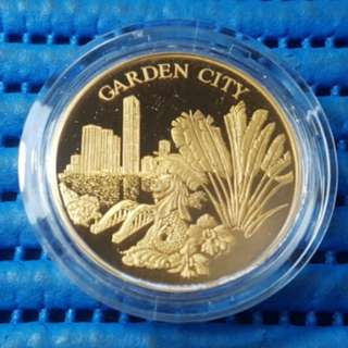 Singapore 25 Years of Independence SG25 Garden City Gold Plated Medallion