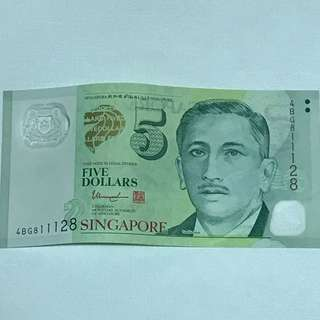 GREAT CNY SALE {Collectibles Item - Banknotes} 4AR588877 Nice Numbers $5 Singapore Portrait (Polymer) Series Banknotes Signature & Seal By  Mr Tharman Shanmugaratnam