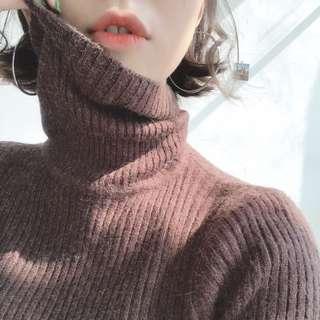 咖啡色復古韓版纯色高领加厚坑條打底針織衫 内搭保暖毛衣