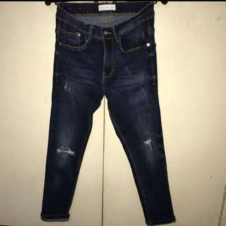 "ZARA super skinny tattered crop pants (stretchable) size 30"""