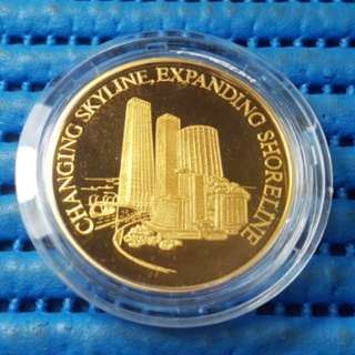 Singapore 25 Years of Independence SG25 Changing Skyline Expanding Shoreline Gold Plated Medallion