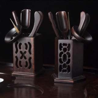 (2套/2sets) 茶道五/六君子黑檀木功夫茶具配件 (包Buyup自取站取貨) (優居系列) (China style tea kit set of 5/6pcs made of African blackwood)