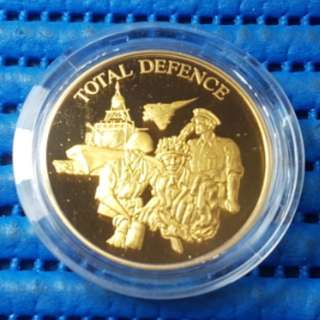 Singapore 25 Years of Independence SG25 Total Defence Gold Plated Medallion