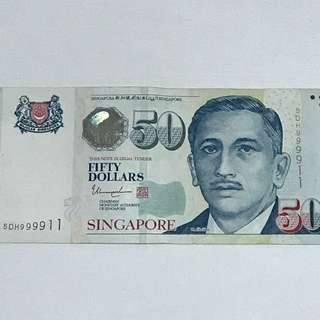GREAT CNY SALE {Collectibles Item - Banknotes} 5DH999911 Nice no. $50 Singapore Portrait Series Banknotes Signature & Seal By  Mr Tharman Shanmugaratnam