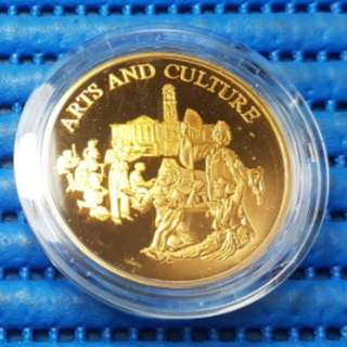 Singapore 25 Years of Independence SG25 Arts and Culture Gold Plated Medallion