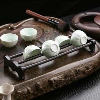 (3件/3pieces) 實木黑檀木茶杯架 (包Buyup自取站取貨) (優居系列) (China style tea cup stand made of African blackwood)
