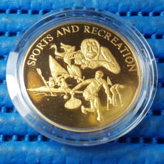 Singapore 25 Years of Independence SG25 Sports and Recreation Gold Plated Medallion