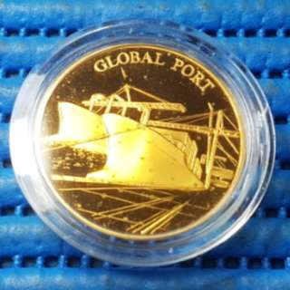 Singapore 25 Years of Independence SG25 Global Port Gold Plated Medallion