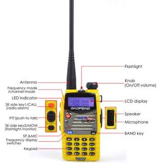BAOFENG UV5RA-PLUS-YELLOW-UU 136-174/400-520MHZ RADIO 對講機