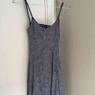 Blue and white spaghetti strap dress (size XS)