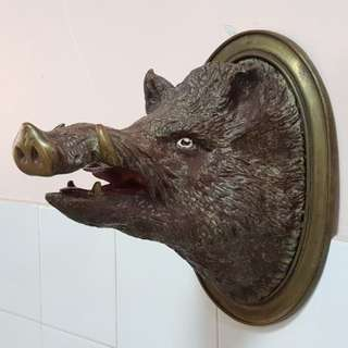 Brass wild boar display