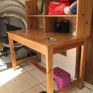 Meja kayu + rak